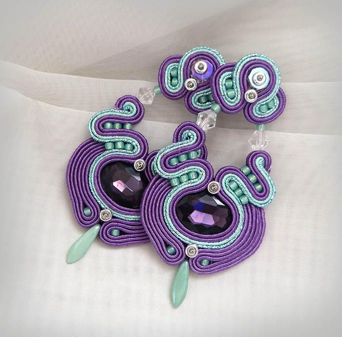 Excited to share the latest addition to my #etsy shop: Purple Green Soutache Earrings, Long Stud Earrings, Oriental Purple Earrings, Beaded Dangle Earrings, Large Statement Earrings, mint earring http://etsy.me/2EF7q5C #soutache