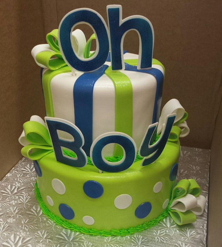 calumet bakery oh boy green and blue baby shower two tier cake