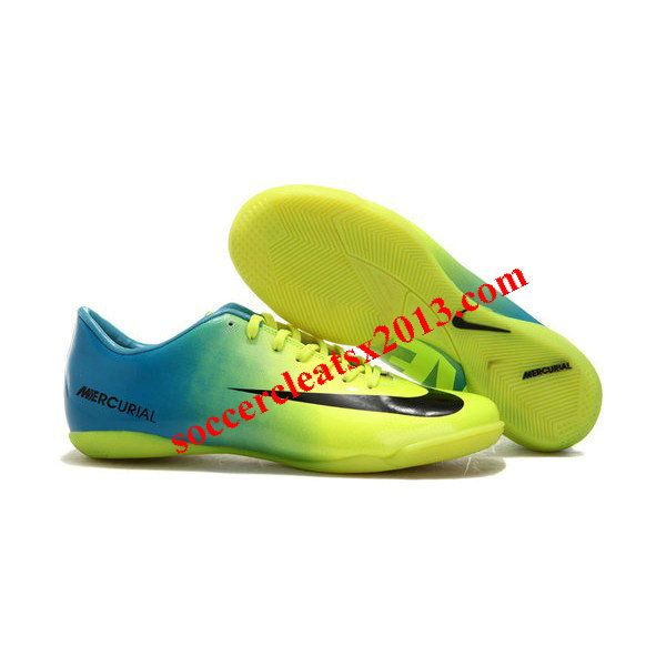 2012/2013 Nike Mercurial Futsal - Green Blue And Black Nike Mercurial Vapor IX IC Indoor Soccer Cleats