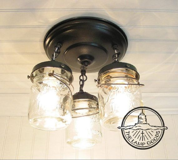 Flush Mount Ceiling Light Mason Jar Lighting Fixture Vintage Pint Trio Farmhouse Chandelier Track Fan Rustic Kitchen By Lampgoods In 2018