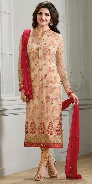 Prachi Desai In Cream Georgette Straight Suit With Dupatta.