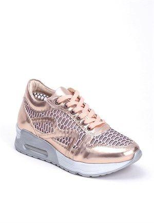 Erb Bakır Rugan Fileli Bağcıklı Bayan Spor Ayakkabı