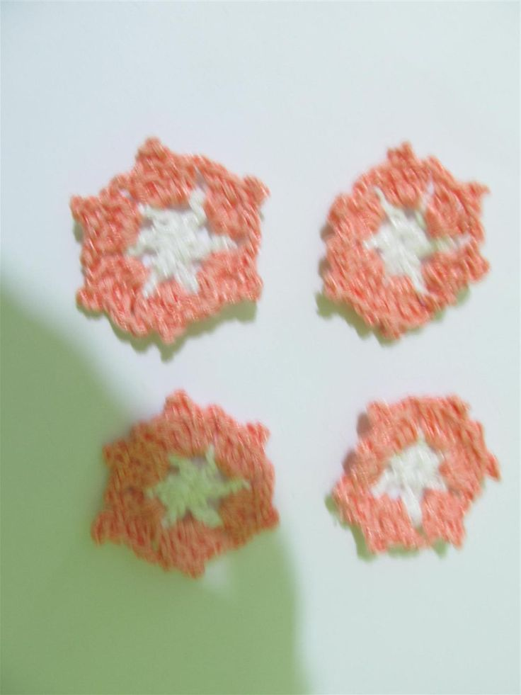 Handmade crochet motif 39mm (4 pcs) Craft supplies Jewelry materials