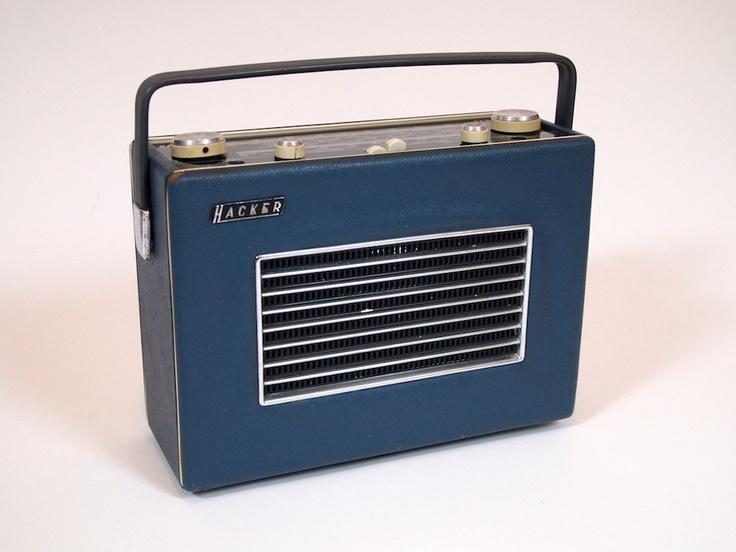 Vintage 1960s radio portable Hacker Herald in navy blue, via Etsy.