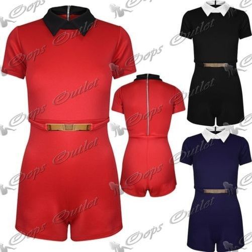 Womens Ladies All In One Shorts Piece Collared Gold Plated Short Sleeve Playsuit