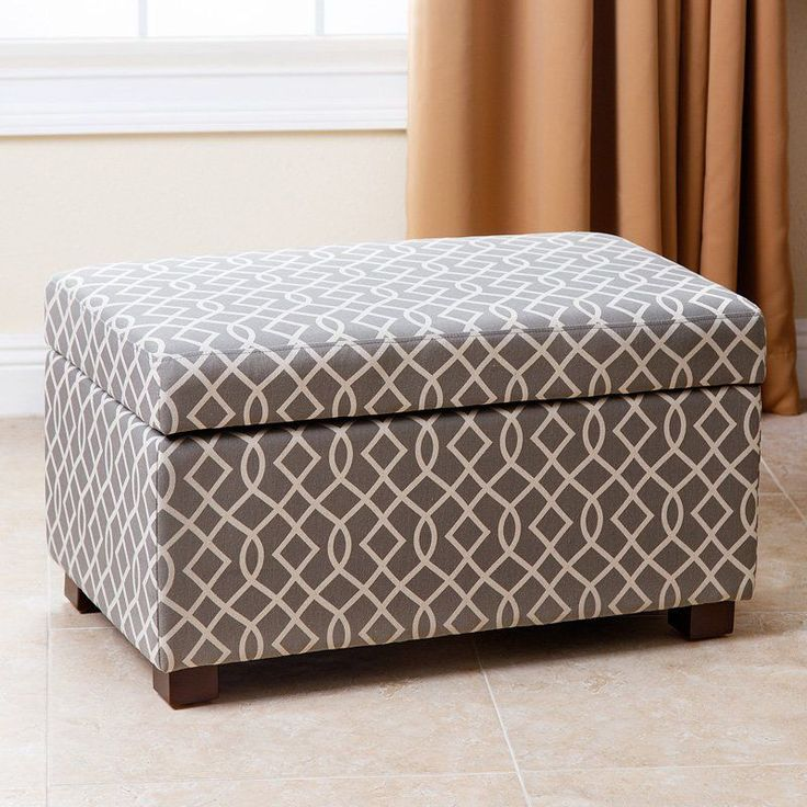abbyson living mercer gray patterned small storage ottoman