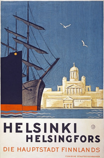 1930 Helsinki Finland Finnish Travel Poster