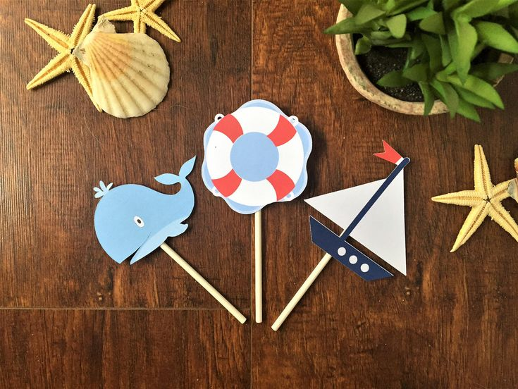 Excited to share the latest addition to my #etsy shop: Nautical Cupcake Toppers, boat cupcake toppers, boy baby shower decorations, whale cupcake toppers, sailor party decorations, sail boat