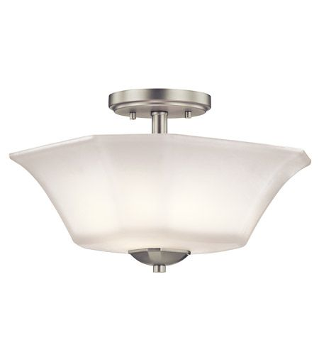 Serena 2 Light 13 inch Brushed Nickel Semi Flush Light Ceiling Light