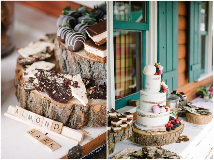 Mirey + Pat // Heartland Dude Ranch Wedding, Calgary » Shannon Valente Weddings A rustic wedding sweets table labeled with scrabble titles. See the full ranch wedding on the blog!