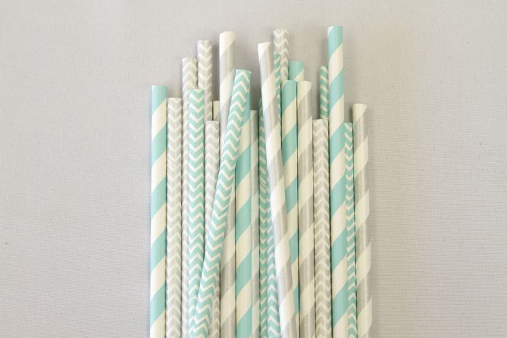 Assorted silver and aqua paper straws to fancy up your frost kissed Christmas | Aqua Silver White Christmas Decorations | The Paper Lantern