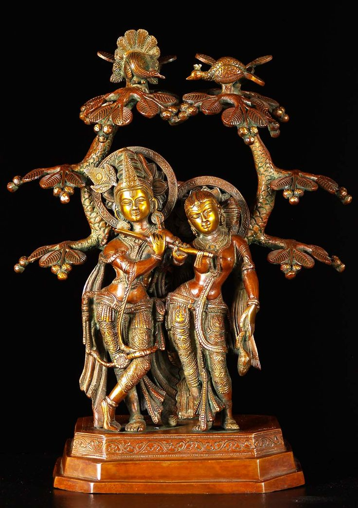 "View the SOLD Brass Radha Krishna Statue Under Canopy 17"" at Hindu Gods & Buddha Statues"