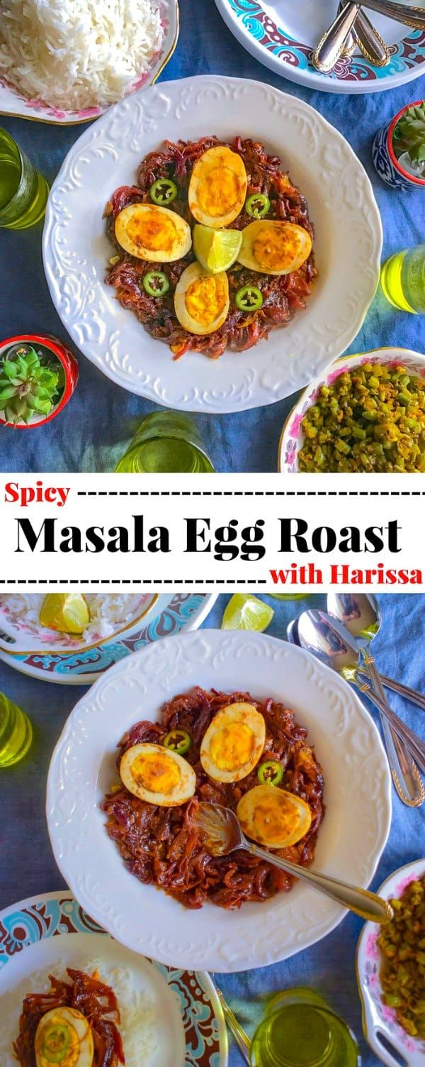 Spicy Masala Egg Roast with Harissa: #harissa #egg #masala