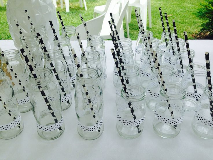 black white and gold baby shower