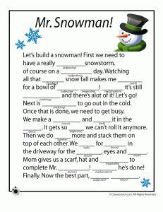 snowman mad libs