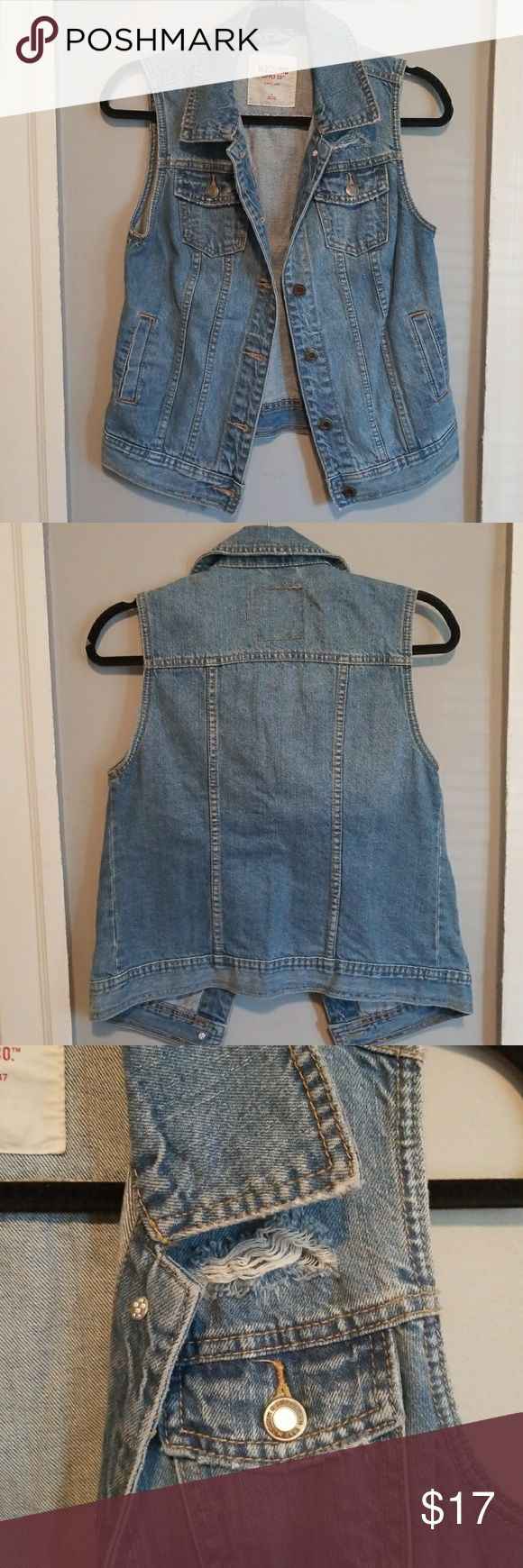 NWOT edgy and chic sleeveless jean jacket. Size S. NWOT cute and chic distressed sleeveless jean jacket. Size small. Not nasty gal, using for exposure :)  Bundles welcomed!  Make me an offer! Happy poshing! Nasty Gal Jackets & Coats