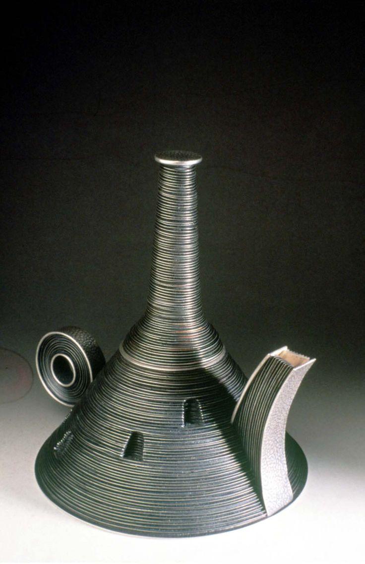 Robin Kraft  Fictionary #teapot  Sterling Silver, constructed and cast,Teapots Sterling, Kraft Fictionari, Fictionari Teapots, Silver Teapots, Kraft Sterling, Sterling Silver, Kraft Teapots, Fictionari Sterling, Robin Kraft