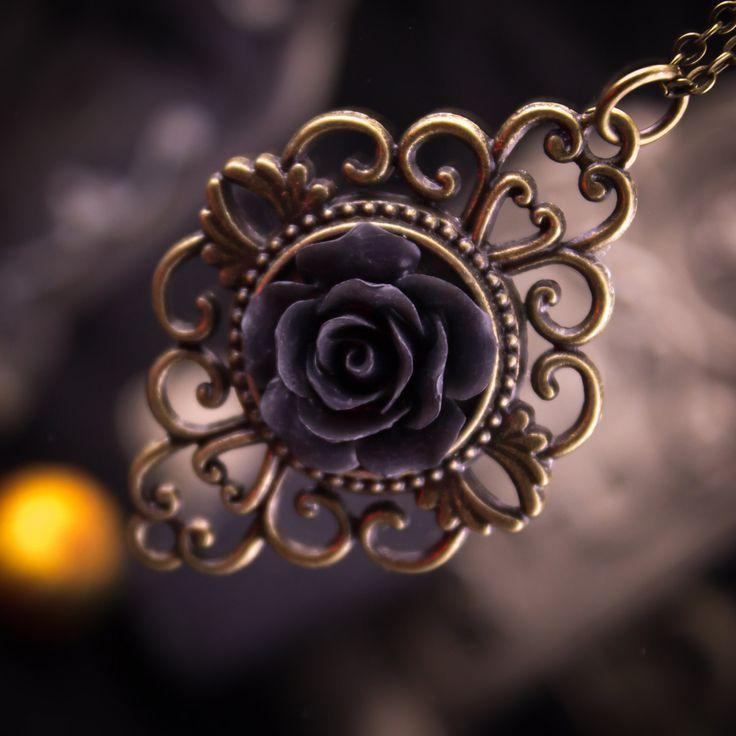 Black Rose Victorian filigree Halloween - Goth Necklace 91842HNL by LaraBellaJewelry on Etsy