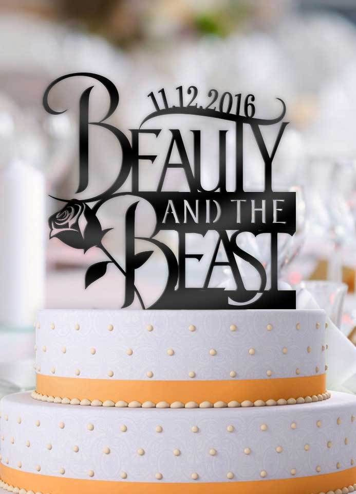 Personalized Beauty and the Beast Logo with Date Wedding Cake Topper