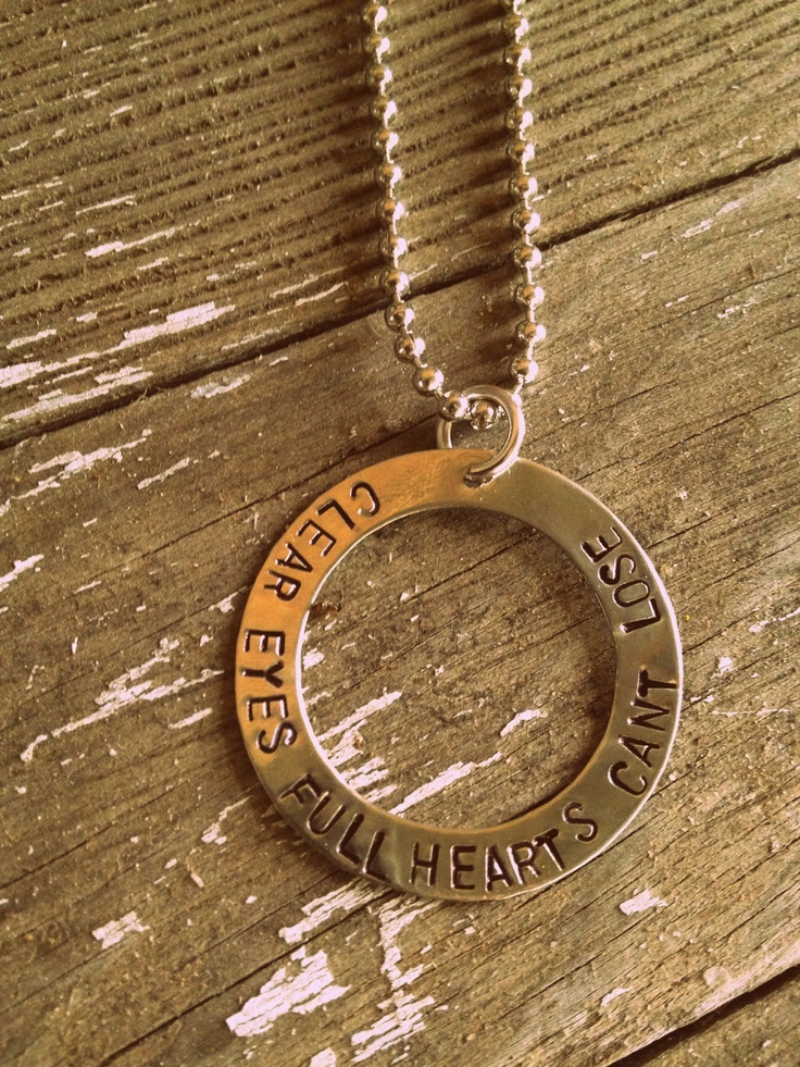"""Hand Stamped """"Clear Eyes Full Hearts Can't Lose"""" Quote from Friday Night Lights Necklace. $35.00, via Etsy."""