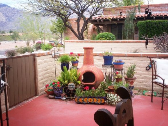 Mexican Patio Ideas | Our Mexican Motif Flower & Plant Spaces, Our Entrance & Patio Flowers ...
