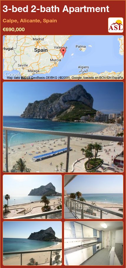 3-bed 2-bath Apartment in Calpe, Alicante, Spain ►€690,000 #PropertyForSaleInSpain