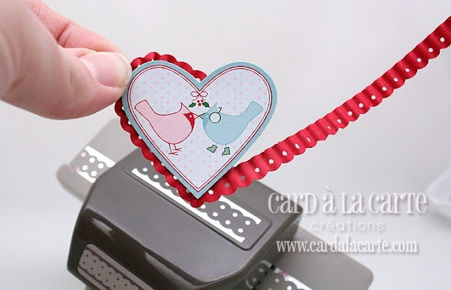 use the SU dotted scallop ribbon border punch and a paper crimper to create this scallop border around a heart shape