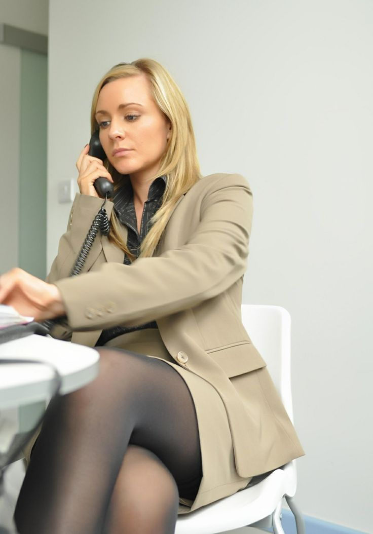 Hot Blonde Secretary In A Beige Skirt Suit And Black Tights  Fashion, Black