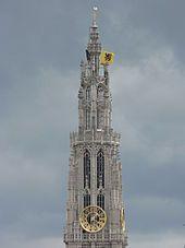 Cathédrale Notre-Dame d'Anvers - La grande tour nord, vue de la rive gauche de l'Escaut