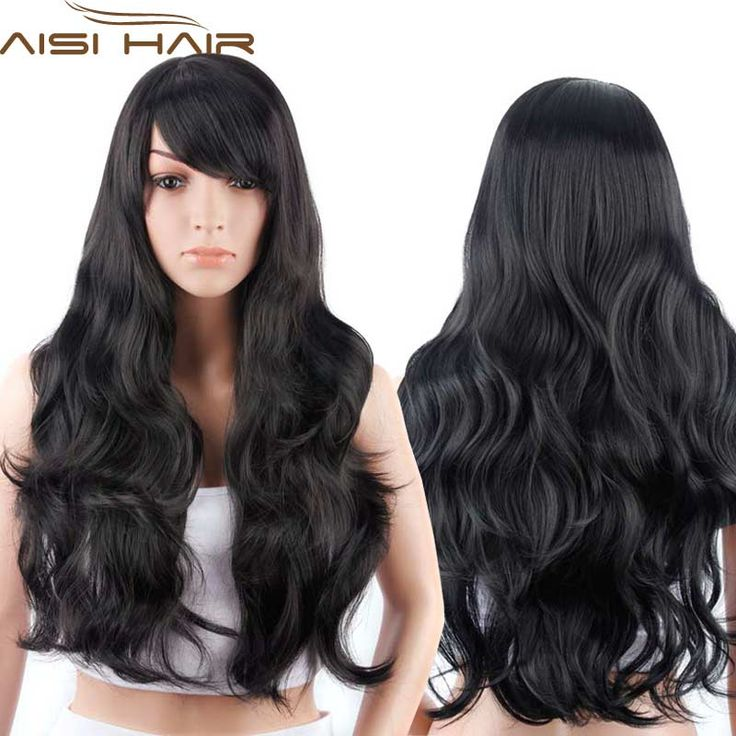 """28""""Long Black Curly Wigs Synthetic Hair Wig for Women Cheap African American Fake Hair Full Wigs Jenner  Female Wig"""