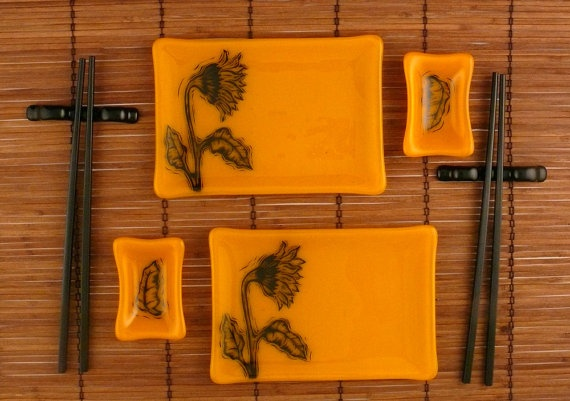 Fused Glass Sushi Set Marigold with Sunflower by ToltRiverStudios, $80.00: Fused Glass