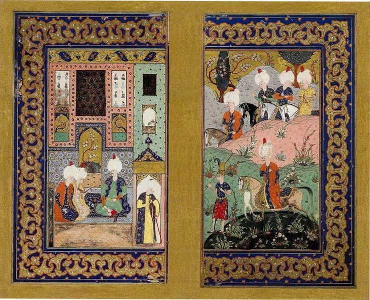 Ava Giden Sultan ve Sarayda Toplantı / Sultan I. Selim/ Divân/1515-20/İÜK;F.1330, y27 b-28a