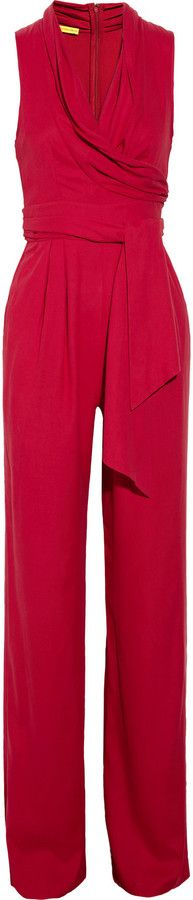 Catherine Malandrino Belted washed-silk jumpsuit for Sale