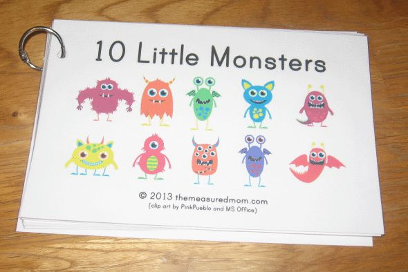10 little monsters book 590x394 Free Printable Book for Early Readers: Ten Little Monsters