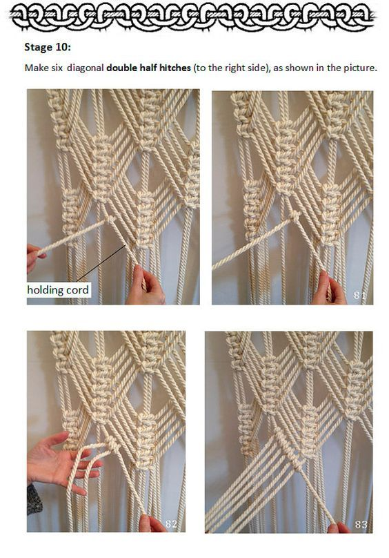 PDF pattern macramé curtain, size: W36 in x H98 in Material: cotton rope Quantity needed: 277 yards (253 m) of cord I offer a 2 PDF patterns, not the finished creation. SKILL LEVEL: Intermediate You need cotton cord ( 8mm thick ) and wooden rod to make the curtain. Pattern includes 43 pages and 120 photos, made particularly step by step and very detailed, so that you could make the curtain easily. You need to know the basics of knitting knots: - Lark's Head (LH) - Overhand Knot (OH) - Square...