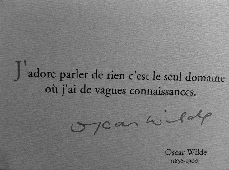 J'adore parler de rien c'est le seul domaine où j'ai de vagues connaissances - Oscar Wilde