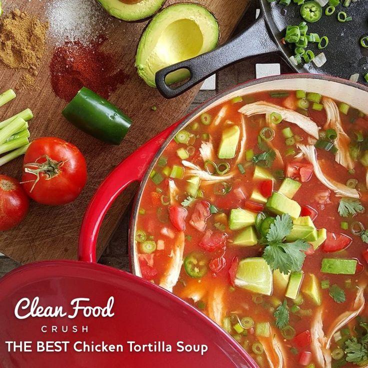 THE BEST Chicken Tortilla Soup recipe  http://cleanfoodcrush.com/best-chicken-tortilla-soup