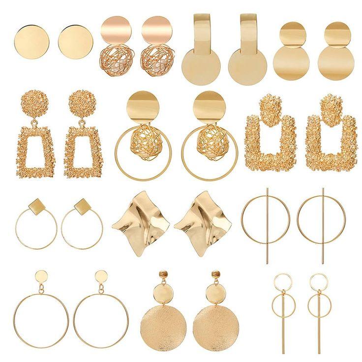<b>New Gold</b> Metal Earrings For Women Girls Round Geometric ...