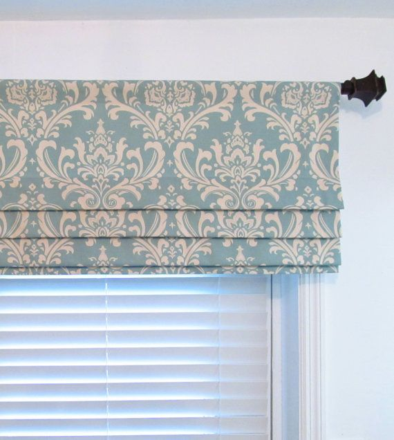 Custom Faux Roman Shade Lined Mock Valance Village Blue