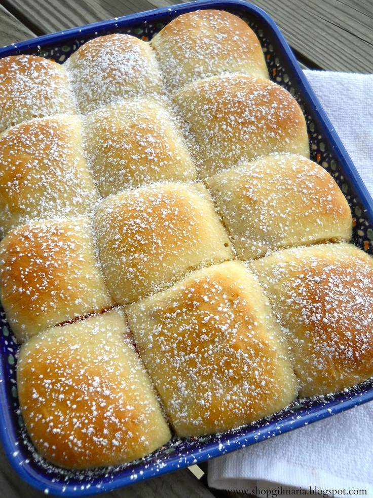 Traditional Czech Buchty - Sweet Buns filled with Rosehip Jam