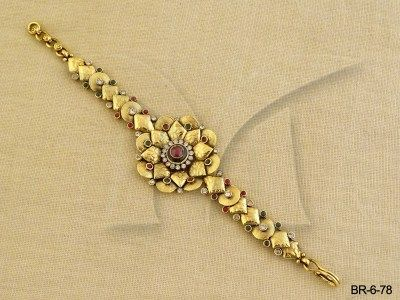 BR-6-78 || Simple Flower Gold Antique Bracelet