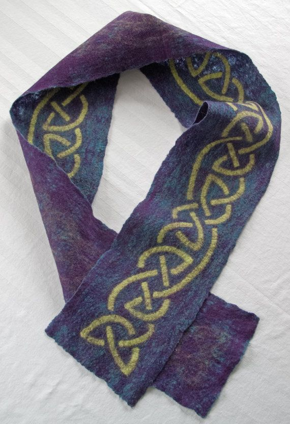 Felted wool scarf, Celtic knot work design in blue purple and green Wool sc...