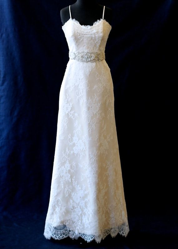 Etsy champagne silk with lace overlay sweetheart for Lace overlay wedding dress