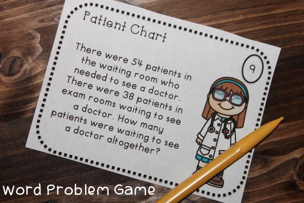 Word Problem Game for addition, subtraction, multiplication, and division word problems! Have students dress as doctors to play! Easy classroom transformation!