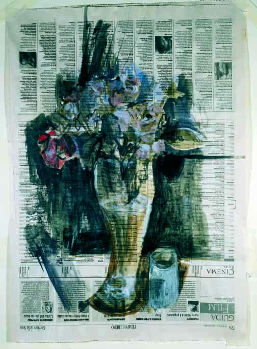 Natura morta con barattlino e fiori(tecnica mista su giornale) sm 53x38.jpg