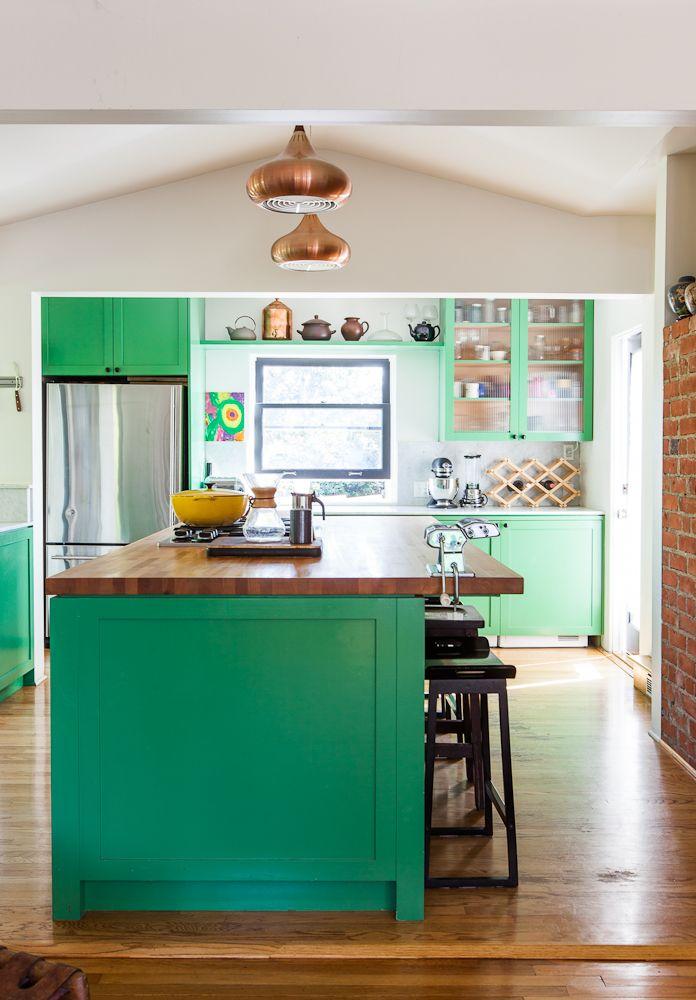 wood + brick + white + green