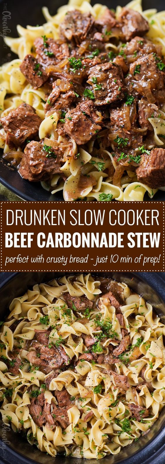 Drunken Slow Cooker Beef Stew (Beef Carbonnade) | Belgium comfort food, made easy in the slow cooker! Beef stew made with plenty of sweet onions, herbs and beer... perfect over egg noodles, mashed potatoes, or with a crusty piece of bread! | The Chunky Chef