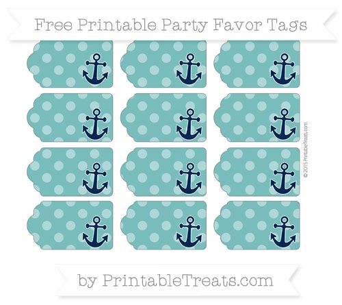 Free Teal Dotted Pattern Nautical Party Favor Tags