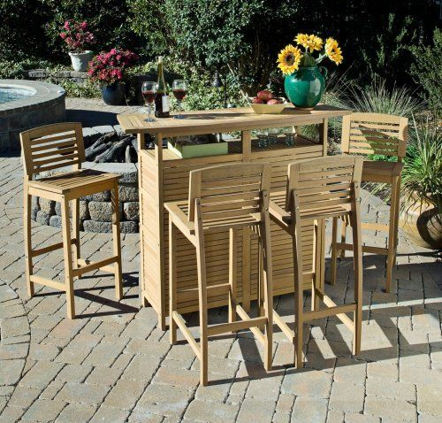 Bali Hai 5-Piece Natural Teak Outdoor Bar Set by Universal Lighting and Decor. $1045.91. In a natural teak wood finish, this five piece bar set is a wonderful addition to a tropical themed outdoor space. With a bar cabinet and four matching bar stools, the set is designed for entertaining. It's crafted of eco-friendly plantation grown Shorea wood, and features shelving in the back to hold bottles, glasses, and other traditional bar supplies.. Save 33% Off!