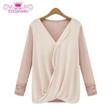 New Style High-density Stitching Knitted Chiffon Fashion Shirt Women 2015 summer style Long Sleeve V-neck Blouse(China (Mainland))